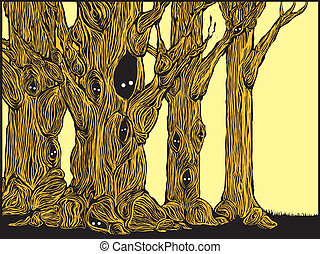 Grove of spooky trees in woodcut style with eyes peering from hollows.
