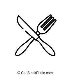 Spoon and fork line icon, concept sign, outline vector illustration, linear symbol.