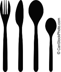 Spoon fork and knife black