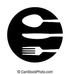 Spoon, fork and knife icon isolated on white background. Trendy tool design style