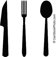 spoon, fork and knife icon on white background. flat style. cutlery symbol. kitchen sign.