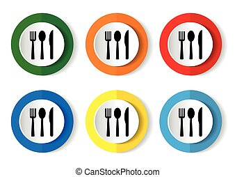 Spoon, fork and knife icon vector for web, computer and mobile app