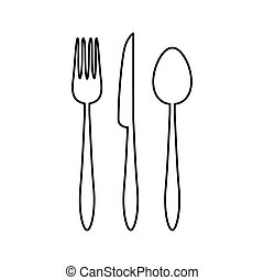 Spoon, fork and knife icon.