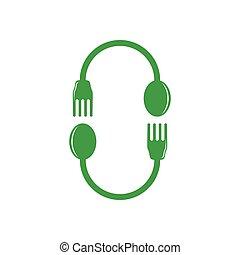 spoon fork circle geometric decoration vector
