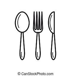 spoon fork knife - thin line icon
