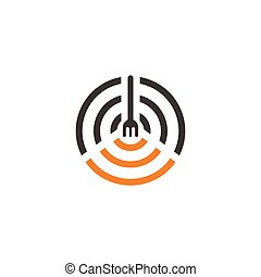 spoon fork simple geometric restaurant symbol vector