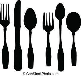 spoon knife and fork - vector