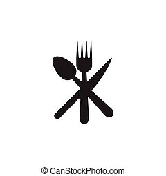 Spoon, knife, fork icon graphic design template vector