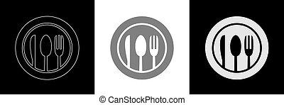 Spoon knife fork icon set2