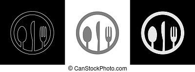 Spoon knife fork icon set3