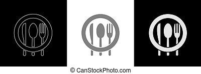 Spoon knife fork icon set4