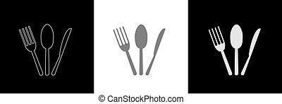 Spoon knife fork icon set5