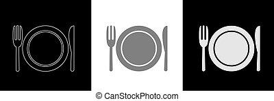 Spoon knife fork icon set6