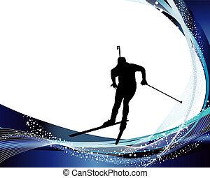 Sport background set with biathlon athlete. Vector illustration.