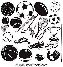 Vector illustration of different sport ball black icons.