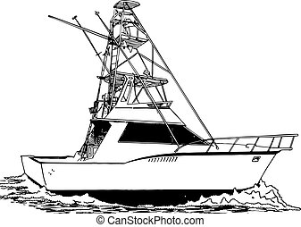 sport fishing boat, offshore, large tower, underway, going for fish