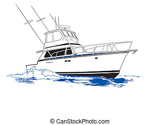 Hard running sport fishing boat rigged for offshore fishing