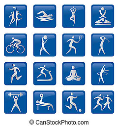 Sport fitness buttons icons