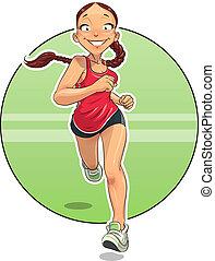 Sport. Running girl. Eps10 vector illustration. Isolated on white background