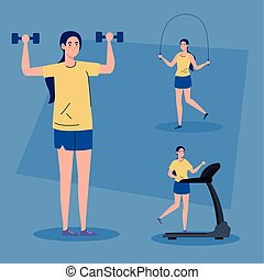 sport scenes, women practicing sport, healthy lifestyle