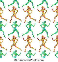 Sport seamless pattern with running women