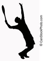 Sport Silhouette - Tennis Player Serving - Ball in air
