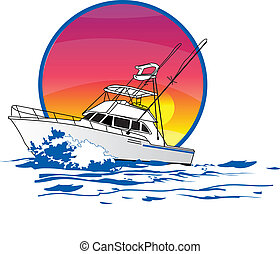 About 40' offshore sport fishing boat running in the ocean