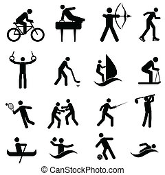 Sports and athletic icon set in black