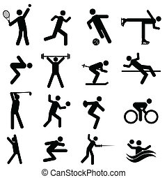 Sports and athletics icon set in black