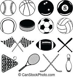 Illustration of balls and other sports related Items. Includes baseball, football, soccer and many others.