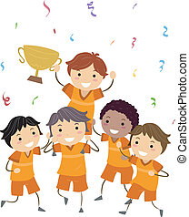Illustration of Kids Showing Their Trophy