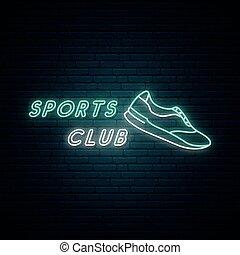 Sports club neon light signboard. Glowing neon sneaker emblem. Sports footwear. Stock vector illustration.