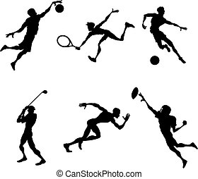 Sports players silhouettes A set of stylised Sports players silhouettes