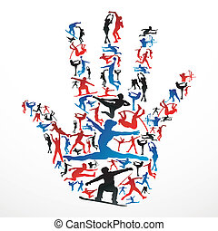 Action sports silhouettes in human hand shape. Vector file layered for easy manipulation and customisation.