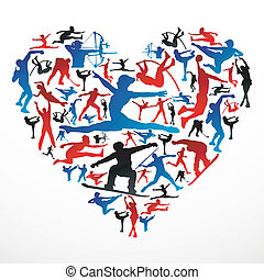 Action sports silhouettes in heart love shape. Vector file layered for easy manipulation and customisation.
