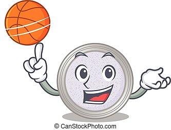 Sporty cartoon mascot design of glitter eyeshadow with basketball