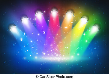 Spotlights with rainbow colours as a magical abstract background of a concert lighting on a dark glowing theater stage with shiny sparkles with a blank center as a symbol of entertainment and important announcement message.
