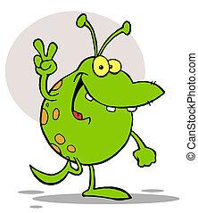 Green Alien Smiling