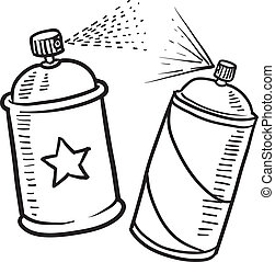 Doodle style spray paint illustration in vector format. Includes text and paint can.