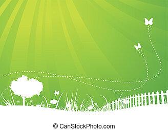 Spring And Summer Butterflies Garden Background