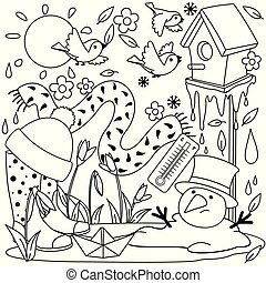 Spring coloring for children.