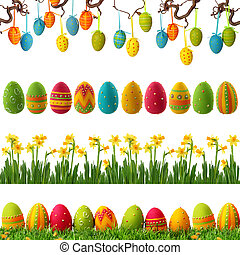 Spring collection with colorful easter eggs