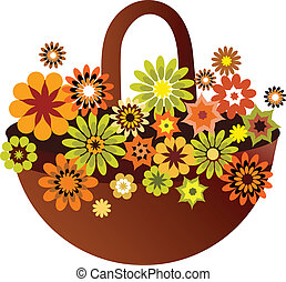 spring flower basket, card design, vector illustration