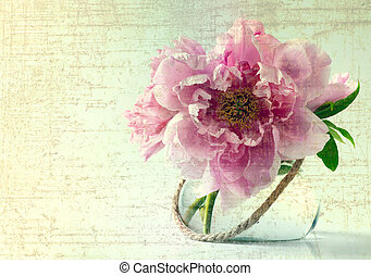 spring flowers in vase on white background