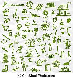 Spring. Garden tools sketch for your design