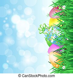Spring landscape with Easter eggs, vector eps10