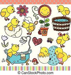 Spring little chick set digital elements