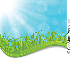 Spring natural card with green grass