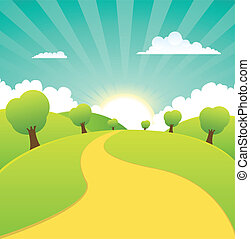 Illustration of a cartoon summer or spring season rural landscape