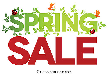 Spring sale design Beautiful colorful illustration on a white background, green leaves, ladybugs and butterflies Bold and bright